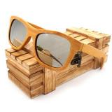 Ochelari de soare din lemn Bobo Bird BG003, lentila argintie Wooden Lux