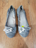 Balerini dama noi piele intoarsa comozi 37 !, Argintiu, Piele naturala
