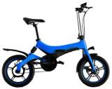 Bicicleta electrica ONEBOT S6, Viteza maxima 25 kmh, Autonomie 50-70 km, Motor 250 W, Display OLED, Far LED, Baterie LG, Roti 16inch, Pliabila (Albast