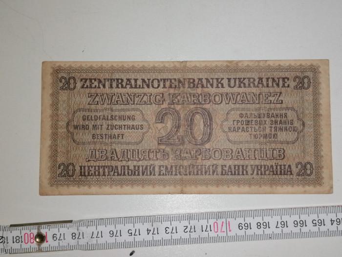 bancnota UCRAINA 20 zvanzig karbowanez 1942