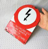 Tabla emailata de avertizare, placuta avertizare veche design - decor - colectie