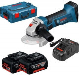 Polizor unghiular cu acumulator Bosch Professional GWS 18 V-LI, 18 V, 5 Ah, 115 mm, protectie suprasarcina, valiza transport, 2 acumulatori Li-Ion