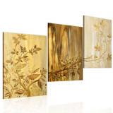 Tablou pictat manual - 3 piese - frunze aurii - 120 x 60 cm, Artgeist