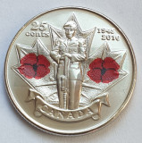 Monedă 25 cents 2010 Canada, Remembrance, unc, color, km#1028, America de Nord