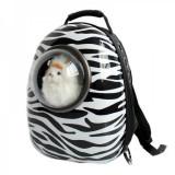 Cumpara ieftin Rucsac transport animale de companie, tip capsula, impermeabil Zebra