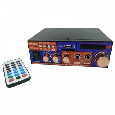 Amplificator digital tip Statie 2x20 W Bluetooth telecomanda intrari USB SD CARD microfon foto