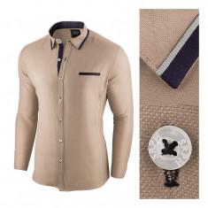 Camasa pentru barbati, bej, slim fit - Allee de Longchamp, L, M, S, XXL