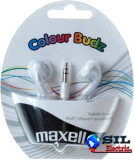 Casca in ureche 3.5mm alb Color Budz Maxell, Casti In Ear, Cu fir, Mufa 3,5mm