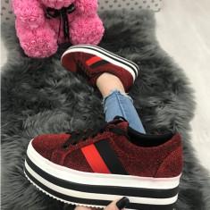 Adidasi dama rosii cu platforma marimea  37, 38, 39,  41+CADOU