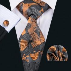 Set cravata matase butoni batista model A+ cutie cadou, Alb, Bleu, Gri, Orange