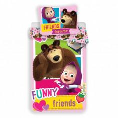 Set de pat Single Ranforce Masha and the Bear Friends
