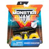 Masinuta Monster Jam, Scara 1:64, Higher Education cu figurina, Negru