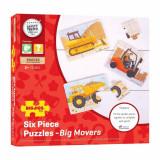 Set 3 puzzle din lemn - Vehicule pentru constructii, Bigjigs
