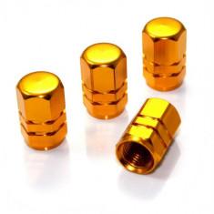 Set capacele auto Automax pentru ventil hexagon gold, 4 buc.