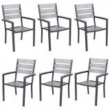 Set 6 scaune cu brate POLYWOOD GREY 60x57x89cm culoare gri B003044-9517 Raki