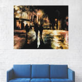 Tablou Canvas, Peisaj Alee din Oras, Noaptea - 80 x 100 cm