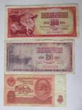 Iugoslavia+URSS lot 3 bancnote colecție,vedeți imaginile
