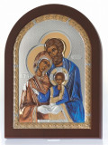 Icoana Sfanta Familie lucrata pe Foita de Argint 925 Auriu 10x14cm COD: 1494