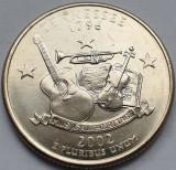 Monedă 25 cents / quarter 2002 USA, Tennesse, unc, litera D, America de Nord