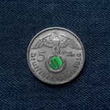 3o - Germania 5 Reichsmark 1936 a, marci germane argint WW2 mark