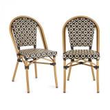 Cumpara ieftin Blumfeldt Montbazin BL, scaun din aluminiu, stivuibil,din sticlă, poliratan, negru-crem
