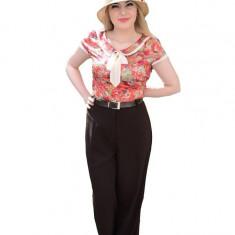 Pantalon dama, nuanta de maro, talie inalta, curea rafinata atasata