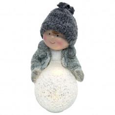 Decoratiune de Craciun, figurina Baietel, LED alb cald, 14 cm, ceramica