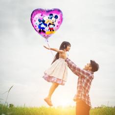 Balon folie Mikey si Minnie, forma inimioara, 45x45 cm