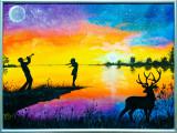 "Cumpara ieftin Tablou / pictura 30x40 cm cerb ""Sweet Music"", Natura, Acrilic, Realism"