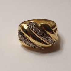 Inel turban din aur galben 18K cu diamante, circumferinta - 62 mm