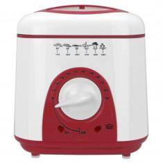 Friteuza Hausberg, cos cromat, 1 L, 950 W, alb/rosu