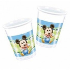 Pahare Mickey Mouse Baby din plastic 200ml set 8 buc