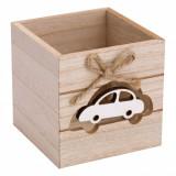 Suport din lemn pentru creioane si pixuri, model masina, 9x9x9 cm