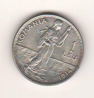 SV * Romania 1 LEU 1914 * ARGINT .835 * Regele Carol I * FRUMOS DE TOT !