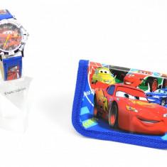 Set cu ceas pentru copii CARS din desene animate si portofel cadou MK01
