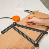 Rigla metalica cuadrilaterala, cu copiator de unghi - 31 x 18 cm Best CarHome
