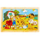 Puzzle lemn, pentru copii, 24 piese, Ferma animalelor