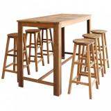 Set masă și scaune de bar, 7 piese, lemn masiv de acacia, vidaXL