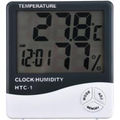 Statie meteo de interior cu Higrometru - Termometru + ceas Display LCD HTC-1