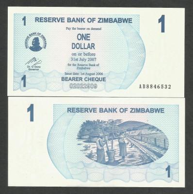ZIMBABWE  1  DOLAR  DOLLAR  2006  2007    UNC  [1]   P-37  ,  necirculata foto