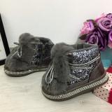 Cumpara ieftin Ghete imblanite argintii gri cu sclipici de iarna tip clapari pt fete copii 28