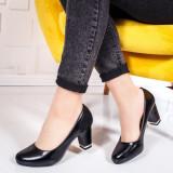 Pantofi cu toc dama negri Jonasia