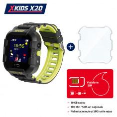Pachet Promotional Ceas Copii + Folie Protectie Sticla + Cartela SIM, Xkids X20 cu Functie Telefon, Localizare GPS, Apel monitorizare, Camera, Pedomet