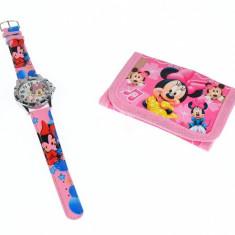 Set ceas pentru copii cu Minnie Mouse + portofel cadou - COCO6629