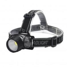 Lanterna cu led COB, lumina alba, culoare negru cu argintiu, rezistenta la apa