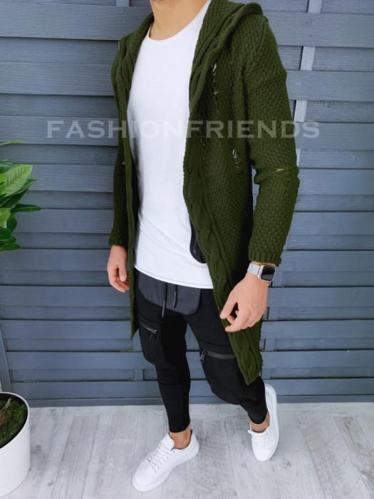 Cardigan barbati kaki cu gluga slim fit ZR T3601