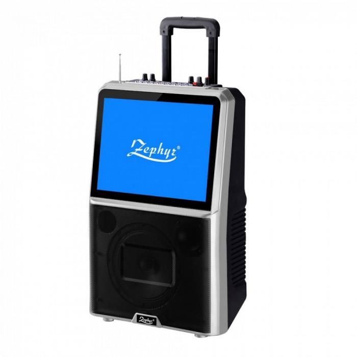 "Set Karaoke cu ecran LED multicolor ZEPHYR ZP 9999 ETV, 8"" inch TV Tuner, Activ, Bluetooth, Mp3, 2 microfoane, 12V/4.5Ah, Negru"