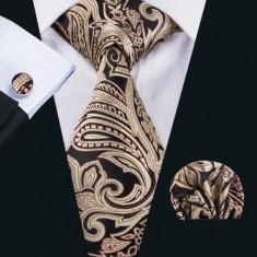 Set cravata matase butoni batista + cutie cadou, Argintiu, Gri, Maro, Mov, Negru