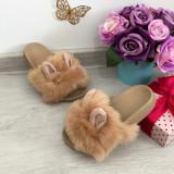 Cumpara ieftin Papuci bej cu blanita si urechi / slapi / sandale pt fetite 27 28