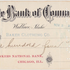 CHECK Wallace Idaho State Bank of Commerce 1904 XF WTMK